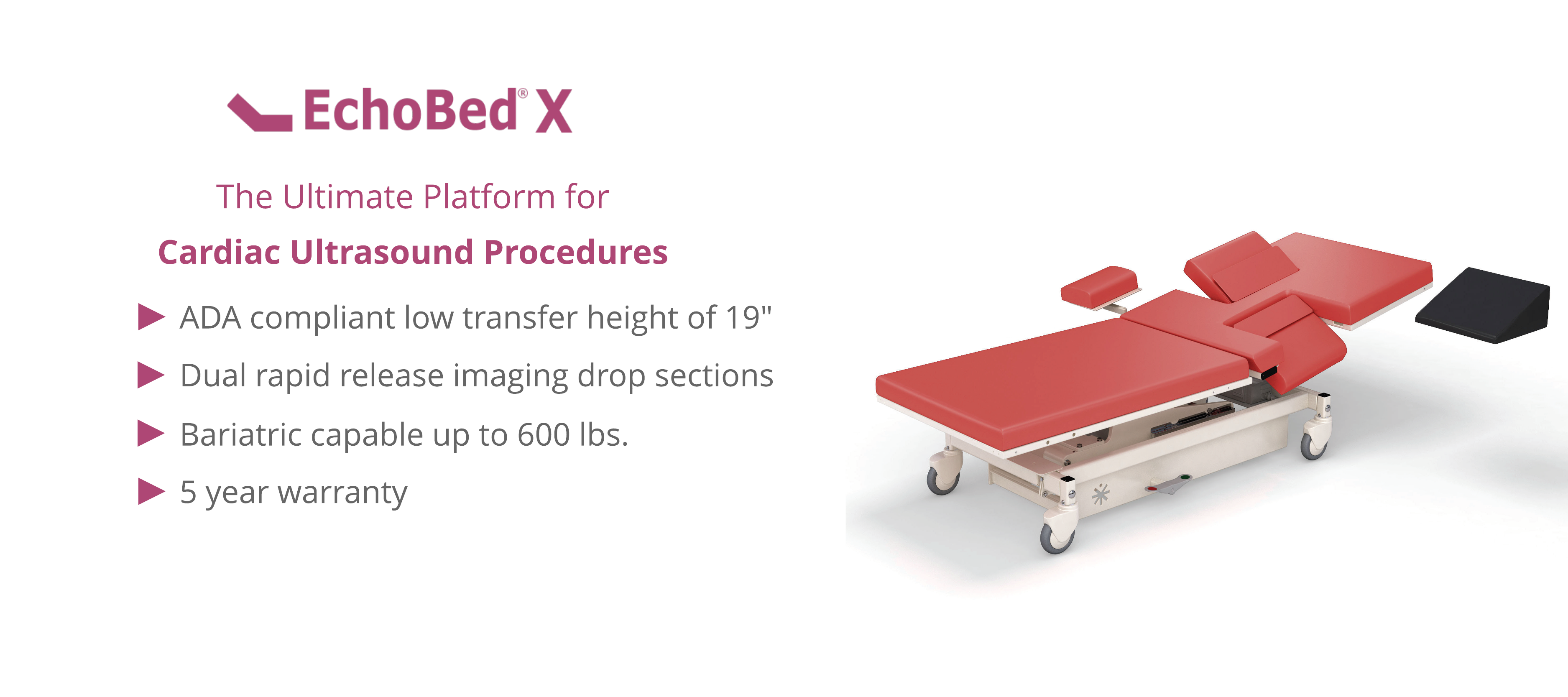 A platform with red cushions for cardiac ultrasounds